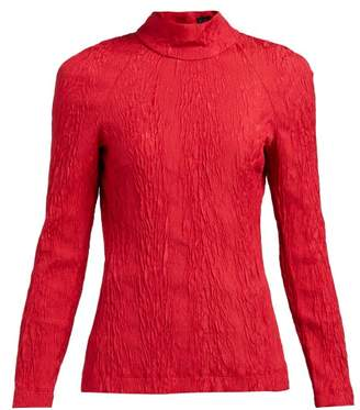 ALEXACHUNG High Neck Open Back Cloque Crepe Top - Womens - Red