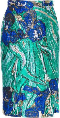 Libertine Van Gogh'S Irises Slit Pencil Skirt Size: XS