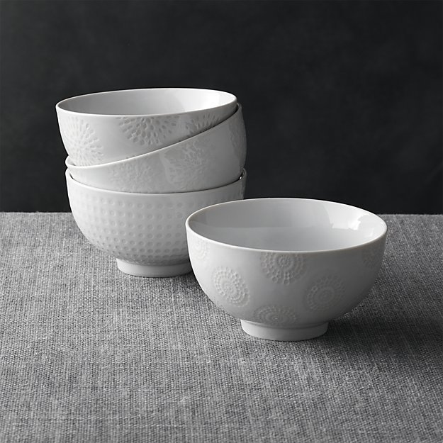 "Crate & Barrel Set of 4 Porcelain 4.25"" Rice Bowls"
