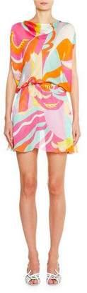 Emilio Pucci Cowl-Neck Draped-Waist Mini Dress