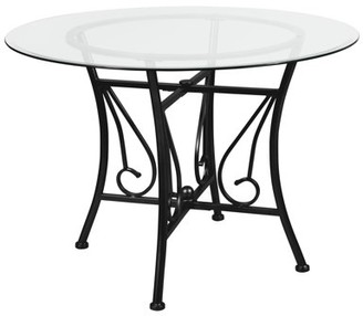 Flash Furniture Princeton 42'' Round Glass Dining Table with Black Metal Frame