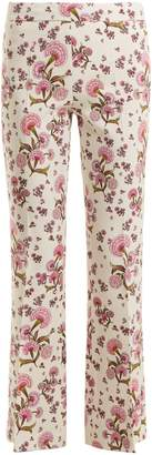 Giambattista Valli Dahlia floral-print kick-flare crepe-cady trousers