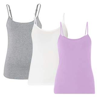 eeda3a9a1aa451 H HIAMIGOS Women s Built-in Shelf Bra Camisole with Adjustable Spaghetti  Strap 3 Pack