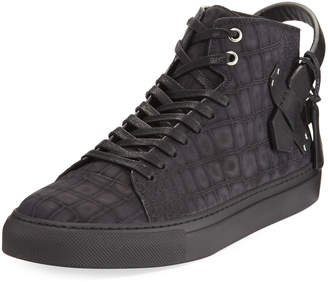 Buscemi Men's 100mm Clean Alligator-Embossed Nubuck Mid-Top Sneakers