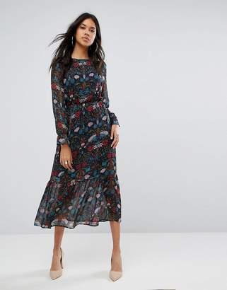 boohoo Floral Print Midi Dress