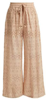 Zimmermann Bayou Cotton And Silk Blend Trousers - Womens - Nude