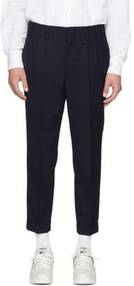 Ami Alexandre Mattiussi Navy Wool Pleated Carrot Fit Trousers