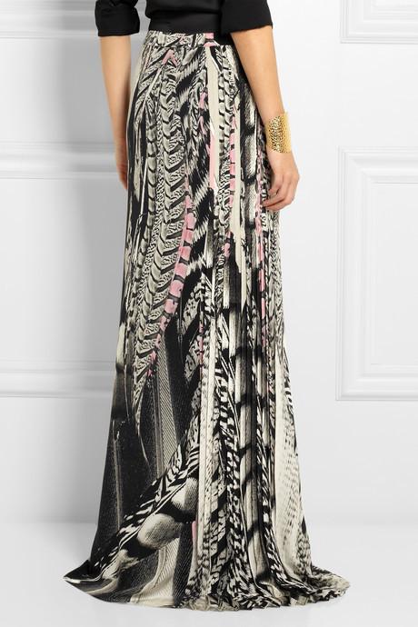 Roberto Cavalli Printed silk crepe de chine maxi skirt