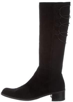 Stuart Weitzman Square-Toe Lace-Up Boots
