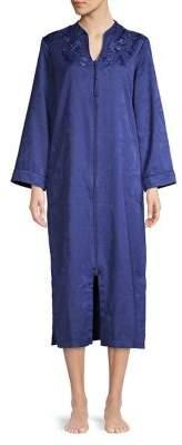 Miss Elaine Vented Floral Zip Kimono Nightgown
