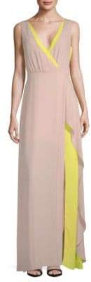 BCBGMAXAZRIA Colorblock Wrap Gown