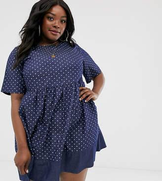 Simply Be denim smock dress in blue polka dot