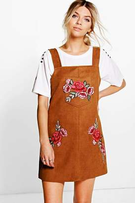 boohoo Embroidered Suede Pinafore Dress