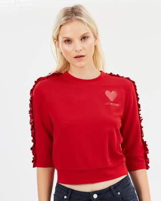 Love Moschino Short Ruched Crew Neck Sweatshirt