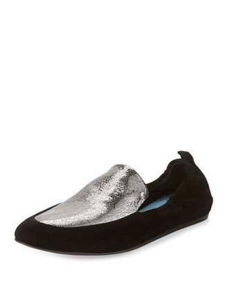Lanvin Two-Tone Leather Slipper Flat, Silver/Black $595 thestylecure.com
