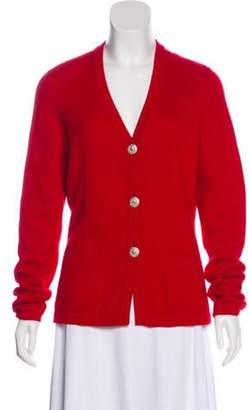 Chanel Button-Up Cashmere Cardigan Red Button-Up Cashmere Cardigan