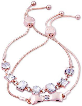 GUESS Rose Gold-Tone 2-Pc. Set Crystal Friendship Slider Bracelets