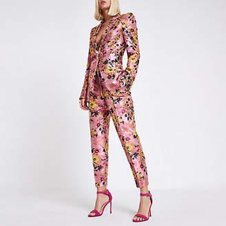 River Island Womens Pink floral jacquard tux jacket