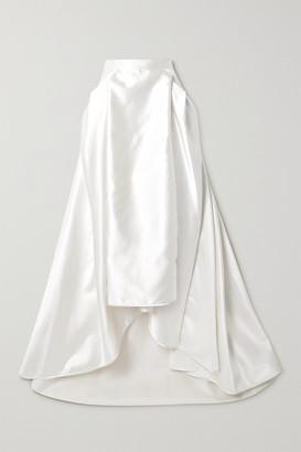 Halfpenny London Georgie Pleated Satin Maxi Skirt - Ivory