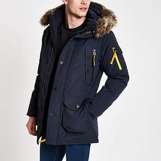 River Island Superdry navy faux fur hooded parka jacket