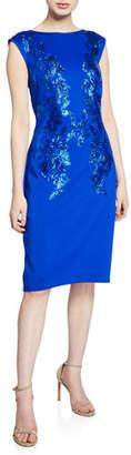 Tadashi Shoji Sequin-Detail Cap-Sleeve Neoprene Sheath Dress
