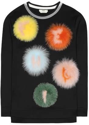 Fendi Cotton-blend and fur sweatshirt