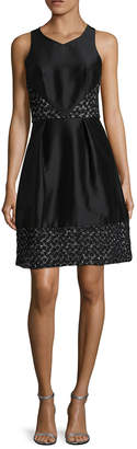Theia Embroidered Contrast A-Line Dress