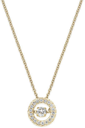 Twinkling Diamond Star Diamond Circle Pendant Necklace in 10k Yellow or White Gold (1/4 ct. t.w.)