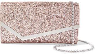 Jimmy Choo Emmie Glittered Leather Clutch - Gold