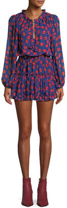 MISA Los Angeles Carla Printed Ruffle Mini Dress