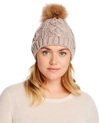 Echo Asiatic Raccoon Fur Pom-Pom Cable-Knit Beanie - 100% Exclusive