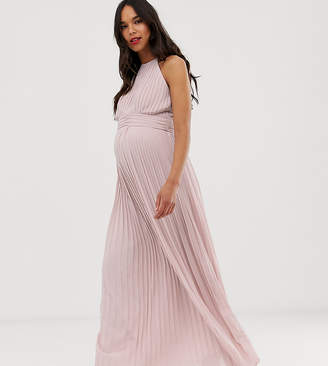 TFNC Maternity Maternity bridesmaid exclusive high neck pleated maxi dress in taupe