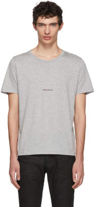 Saint Laurent Grey Rive Gauche Logo T-Shirt