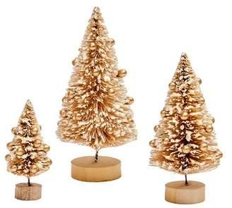 The Holiday Aisle 3 Piece Christmas Bottlebrush Tabletop Tree Set