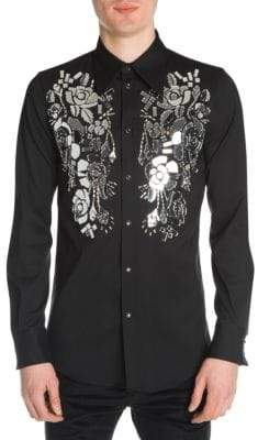 DSQUARED2 Stretch Wool Cut Glass Button-Down Shirt