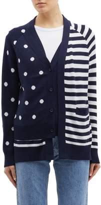 Monse Stripe polka dot layered wool cardigan