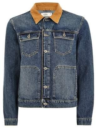 Topman Mens Blue Mid Wash Canvas Collar Denim Jacket
