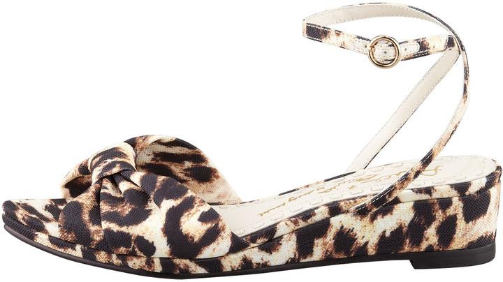 Alice + Olivia Alexi Leopard-Print Low-Wedge Sandal