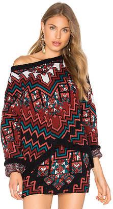 Mara Hoffman Bolnisi Rug Knit Drop Shoulder Sweater in Burgundy $350 thestylecure.com