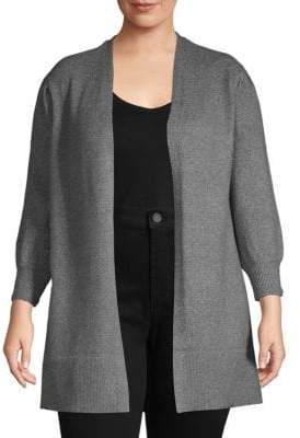 Vince Camuto Plus Ribbed Open-Front Cardigan
