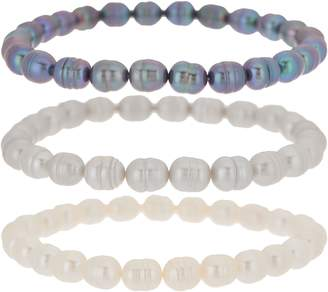 Honora Set of Three Cultured Pearl Tonal Stretch Bracelets