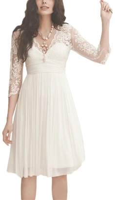 FNKS CRAFT Women's Short Chiffon Boho Beach Wedding Bridal Gown Bridesmaid Party Dresses US