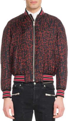 Givenchy Men's Signature Print Silk Bomber Jacket