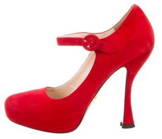 Prada Suede Mary Jane Pumps Red Suede Mary Jane Pumps