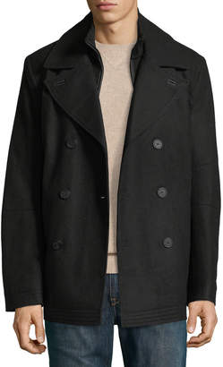 Andrew Marc Men's Emmett Wool Melton Peacoat