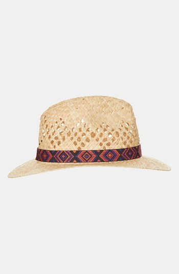 Topshop 'Aztec Band' Straw Fedora Natural One Size