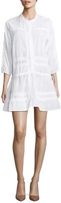 Melissa Odabash Crochet-Trimmed Three-Quarter Mini Dress