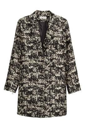 H&M Jacquard-weave Coat - Black/patterned - Women