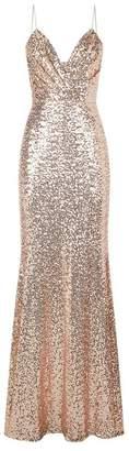 Badgley Mischka Draped Front Sequin Gown