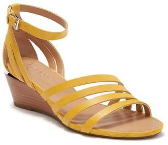 Franco Sarto Della Leather Ankle Strap Wedge Sandal